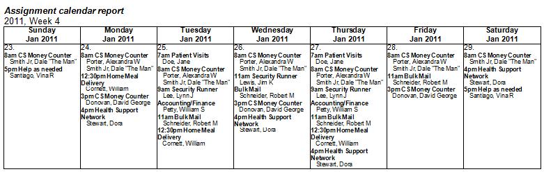 Monthly Calendar Report : Assignment calendar reports